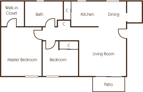 2 Bed / 1 Bath / 1,015 sq ft / Deposit: $400 / Rent from: $1,425-$1,595